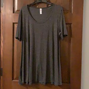 LulaRoe Trapeze Tunic Short Sleeve Shirt Gray L